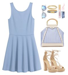 """Blue skater dress under $50"" by muse-charming ❤ liked on Polyvore featuring Stuart Weitzman, Tory Burch, SONOMA Goods for Life, Kate Spade, Fallon, Too Faced Cosmetics and Benefit"