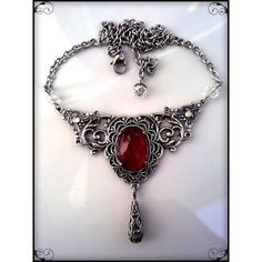 Victorian Gothic Necklace Carnelian Agate Necklace Silver Filigree... ❤ liked on Polyvore featuring jewelry, silver filigree jewellery, gothic jewellery, victorian silver jewelry, silver filigree jewelry and gothic jewelry