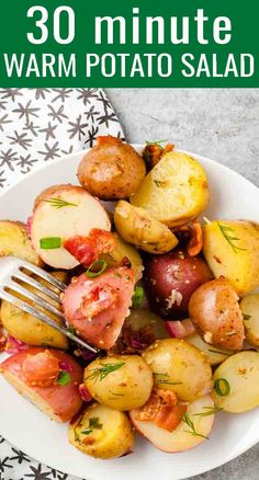 Comforting, warm potato salad with bacon and a tangy sauce complements just about any main dish meat. This easy side dish is bursting with flavor! Best Potato Recipes, Side Dish Recipes, Beef Recipes, Amish Recipes, Salad Recipes, Recipies, Favorite Recipes, Potato Side Dishes, Side Dishes Easy