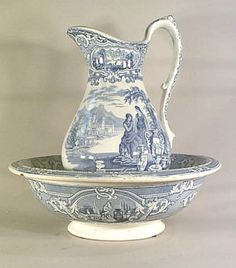 'After performing her toilette with the ewer and basin, Mary had opened her portmanteau to briefly contemplate Jane's nightgown with a kind of terror.' This pic - antique Scottish Pitcher and Bowl Blue And White China, Blue China, Love Blue, Blue Dishes, Wash Stand, Antique China, Shades Of Blue, Vintage Items, Antiques