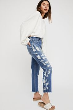 Higher Ground Crop Jeans   Free People