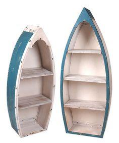 DIY inspiration-Blue & White Wood Canoe Shelf