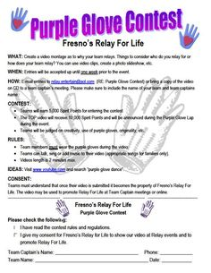Relay For Life- Purple Glove Contest @price_amber - I got purple gloves!!  We can adapt this, maybe?!?!