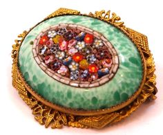 Micro Mosaic Jewelry   Czechoslovakia Gilt & Micro Mosaic Glass 1930's Brooch from mur-sadies ...