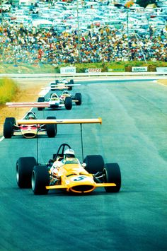 The beauty of Formula 1 in pictures. A McLaren leading Lotus in 1969.