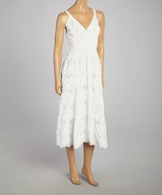 Look what I found on #zulily! White Eyelet Tiered V-Neck Dress by SR Fashions #zulilyfinds