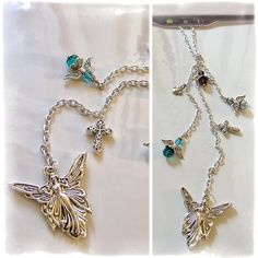Guardian Angels, Cross, Dove - Rear View Mirror Car Charm, Car Jewelry, Car Ornament, Car Decor, Car Accessories by Our Bead Box