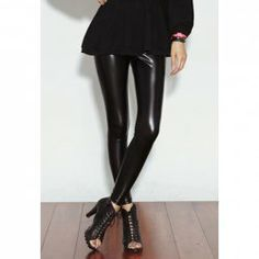 $5.17 Slimming Solid Color Elastic Waist Brilliance Patent Leather Cheap Pants For Women