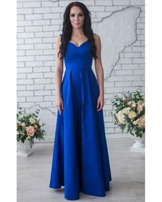 Cobalt Blue Bridesmaid Dress Long Bridesmaid Dress V-Neck Party Dress,Cobalt…
