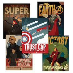 This set of posters from Marvel's The Avengers were created by artist Adam Levermore and are exclusive to ThinkGeek. The 18 inch by 24 inch posters are printed on 80 pound glossy card stock and feature Captain America, Thor, Hulk & Iron Man, Hawkeye & Black Widow and SHIELD.