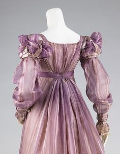Pale Violet Silk Ball Gown, American, 1820. Back View.