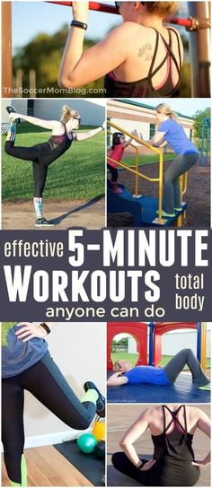 Think you're too busy to work out? Think again! These 5 minute exercises from Soccer Mom Blog are incredibly effective and you can do them anywhere! Short, intense workouts really can help you tone up, burn calories, and lose weight as well or even better than long, slow routines. A list of the best quick fitness moves for moms. Fitness Tips, Fitness Motivation, Health Fitness, Post Workout Food, Mom Workout, Workout Tips, Heath And Fitness, Lose Weight, Weight Loss