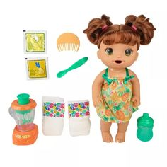 Baby Alive Magical Mixer Baby Doll Tropical Treat with Blender Accessories, Drinks, Wets, Eats, Brown Hair Toy for Kids Ages 3 and Up - Toys Flirts Muñeca Baby Alive, Baby Alive Dolls, Toys For Girls, Kids Toys, Bottle House, Girl Hair Colors, Baby Live, Realistic Baby Dolls, Baby Eating