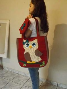 large tote bag with owl applique Diy Tote Bag, Reusable Tote Bags, Owl Bags, Owl Fabric, Pencil Bags, Patchwork Bags, Denim Bag, Green Bag, Kids Bags
