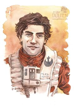 Poe Dameron by Jenny Dolfen. Such a gorgeous guy to paint! Watercolour on Canson Montval,