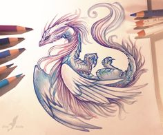 Want to discover art related to dragons? Check out inspiring examples of dragons artwork on DeviantArt, and get inspired by our community of talented artists. Beautiful Drawings, Cool Drawings, Pencil Drawings, Amazing Drawings, Fantasy Kunst, Fantasy Art, Fantasy Drawings, Fantasy Creatures, Mythical Creatures
