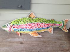 felt fish --we added a fly fishing lure of feathers later..