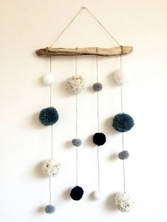Driftwood Pom Pom Hanging Mobile Decoration Blue by HelCatEmporium The post Driftwood Pom Pom Mobile Blue Grey/gray and White Pastel colours Wall Hanging Baby Room Nursery Decor Childrens Room Rustic Decor appeared first on Children's Room. Pom Pom Mobile, Hanging Mobile, Cloud Mobile, Mobile Baby, Diy Room Decor, Nursery Decor, Wall Decor, Nursery Grey, Boho Deco