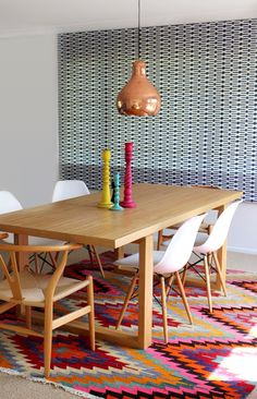 Kilim rug and copper pendant | Bibby + Brady