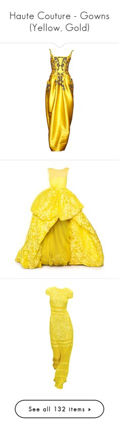 """Haute Couture - Gowns (Yellow, Gold)"" by giovanna1995 ❤ liked on Polyvore featuring yellow, gown, hautecouture, edited, gowns, dresses, long dress, edits, satinee and yellow dress"
