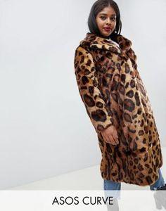 f8a86f9bc8 ASOS DESIGN curve maxi faux fur coat in leopard
