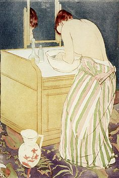 Femme à la toilette, Mary Cassatt Style: Impressionism Her work is important because it shows the bond between and women and a child and also shows the vulnerable side of a women with her child National Gallery Of Art, Edgar Degas, Figure Painting, Painting & Drawing, Mary Cassatt Art, Creation Art, Impressionist Artists, Illustrations, American Artists