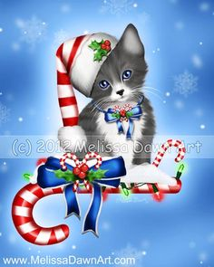 Candy Cane Kitten Christmas Cat Art Print by Melissa Dawn & Spellbound Wings