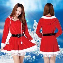 Moodeosa New Sanwony Santa Helper Costume woman Adult Long Sleeve Christmas Hooded Dress Free shipping&Wholesale(China (Mainland))