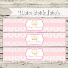 Water Bottle Labels Royal Princess Vintage Crowns Pink and Gold Girl Royal Baby Shower Birthday Printable Theme Package Digital Download on Etsy, $6.82 CAD