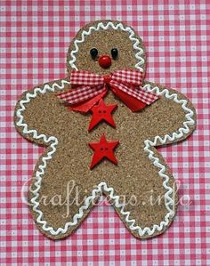 Basic Christmas Craft Ideas - Cork Gingerbread Man Ornament You could also do this with sand paper glued to cardboard...