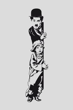 Wallpaper HD The kid Chaplin Wall Painting Decor, Mural Wall Art, Diy Wall Art, Wall Art Designs, Paint Designs, Arte Punk, Deco Originale, Cartoon Sketches, Wall Drawing