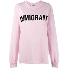 Ashish Immigrant t-shirt ❤ liked on Polyvore featuring tops, t-shirts, ashish, pink tee, pink top and pink t shirt