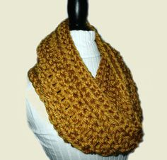 Gold Infinity Scarf Cowl Long Knit Chunky by Chunky Infinity Scarves, Color Me Beautiful, Loop Scarf, Scarf Design, Knit Or Crochet, Vintage Beauty, Inspiring Quotes, Fitness Fashion, Mustard