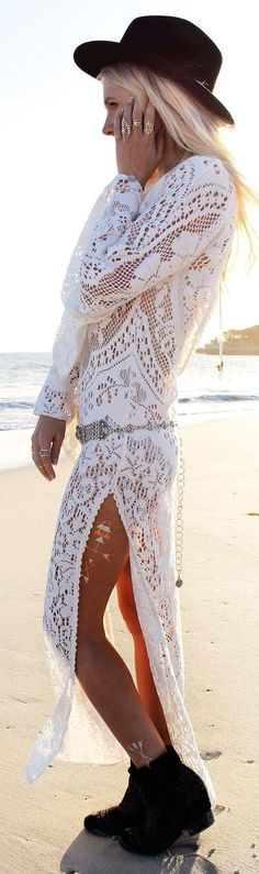 White Crochet Lace Maxi Dress with Black Hat | Bohemian Summer Outfits