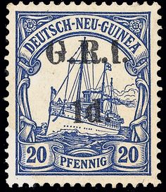 "Deutsch Neu Guinea 19d (19m) 1914-15 1d on 20pf ultramarine German New Guinea Yacht, second setting, the very rare ERROR - ""1d"" instead of ""2d"", position 5 of the setting"