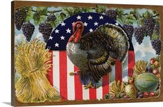 """Vintage Americana Art - """"Thanksgiving Postcard With Turkey And Stars And Stripes Motif"""" canvas art from Great BIG Canvas."""