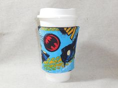 Slip-On Coffee Cozy Made With Batman Inspired Fabric