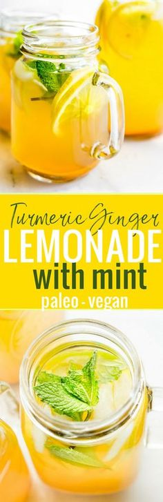 Zingy Turmeric Ginger Lemonade with Mint {Paleo, Vegan} Recipe & health benefits of Ginger Turmeric Lemonade! Great for fighting fatigue and reducing inflammation. Quick to make, naturally sweetened, refreshing! Paleo and Vegan friendly. Yummy Drinks, Healthy Drinks, Healthy Snacks, Healthy Recipes, Detox Recipes, Delicious Recipes, Roast Recipes, Steak Recipes, Pizza Recipes