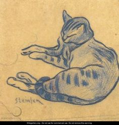 Théophile-Alexandre Steinlen - The blue cat, c. 1900 - pencil and pastel on paper Blanca V via The Great Cat onto All cats, all the time Illustration Art, Illustrations, Watercolor Cat, Blue Cats, Here Kitty Kitty, Cat Drawing, I Love Cats, Animal Drawings, Cat Art