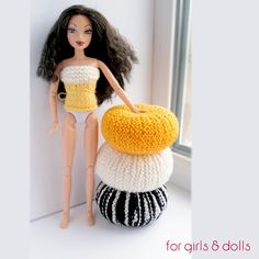 1:6 scale dollhouse pouf, Handknitted ottoman pouf, Playscale diorama furnitire, Barbie, Liv, Fashion dolls pouf, White Yellow Black-white by ForGirlsAndDolls on Etsy