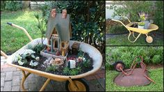 It is such a great idea to Upcycle Wheelbarrow for Garden. The wheelbarrow will make a perfect planter and an important addition to your yard! Popsicle Stick Houses, Wheelbarrow Planter, Garden Solutions, Ways To Recycle, Succulents Diy, Amazing Gardens, Garden Inspiration, Garden Design, Recycling