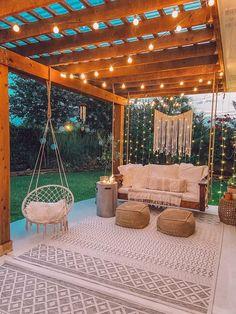 Backyard Patio Designs, Patio Ideas, Diy Patio, Wood Patio, Small Backyard Landscaping, Backyard Pergola, Pergola Plans, Porch Ideas, Landscaping Ideas