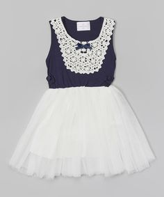 Look at this #zulilyfind! Dark Blue & White Lace Bib Dress - Toddler & Girls by Blossom Couture #zulilyfinds