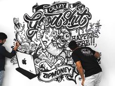 Wall mural @ zipMoney by Andrew McKay #Design Popular #Dribbble #shots