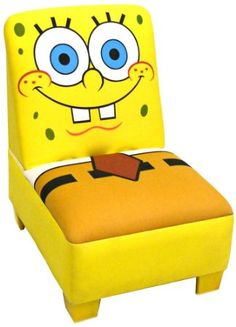 "Nickelodeon Sponge Bob armless chair is a great size chair for your toddler or child. The roomy seat measures 14"" x 12"" and is 8"" to the floor. The seat back measures 14"" tall. This versatile chair will look cute in any room and Winter the dolphin will always be there to welcome your child to their very own comfy chair. Proudly made in the USA. more: http://foter.com/armless-chairs/"