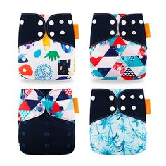 Arichtops 4pcs Baby Reusable Nappies Washable Polyester Cloth Diaper Suitable for Toddler Age 0-3 Years Old