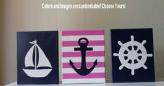 Baby Girl Nautical Decor Nursery Decor Wall Decor Acrylic Painting Wall Art Nautical Decor Sailboat Anchor Ship's Wheel Navy Blue Pink on Etsy, $50.00