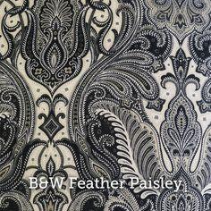 "B&W Feather Paisley Print 20x20"" Pillow Case - by SelemeHealth"