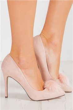 Penelope Pink Pom Pom Pointed Court Shoe