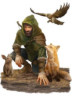 m Druid Leather Armor Shortbow Animal Companions Rabbit Fox Hawk tracking story d&d RPG lg Fantasy Scout, Fantasy Warrior, Fantasy Rpg, Fantasy Artwork, Dungeons And Dragons Characters, Dnd Characters, Fantasy Characters, Fantasy Character Design, Character Concept